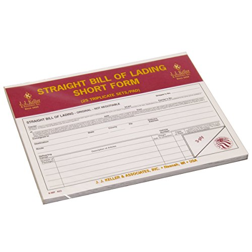 J.J. Keller 403 Straight Bills of Lading Short Form, (Pack of - Lading Short Form