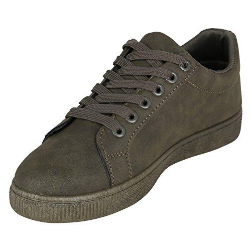 Stiefelparadies Damen Sneaker Low Metallic Turnschuhe Satin-Optik Schuhe Freizeitschuhe Schnürer Glitzer Schnürschuhe Flats Flandell Dunkelgrün Grün