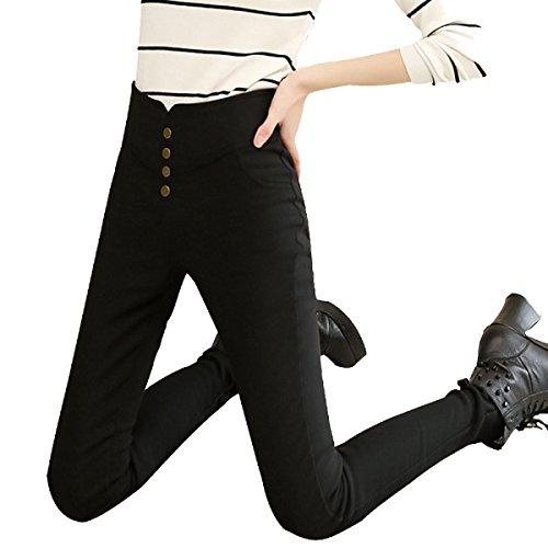 Skinny Waichuan Feet Thin Nine Magri Da Leggings Vita Black Donna Lean WTIIpq