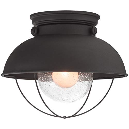 Flush Mount Black Outdoor Lantern (Kira Home Bayside 11