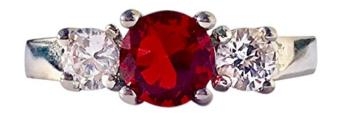 Birthstone Ring~July~Stainless Steel~3 Stone~Cubic Zirconia CZ~Ruby~Red Crystal~Mother's Ring~Fashion Ring~Women's Jewelry (7) ()