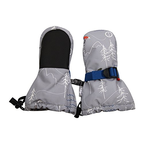 Waterproof Stay-on Winter Snow and Ski Mittens Fleece-Lined for Baby Toddler Girls and Boys (XS: 0-2Y, Snow Mitten: The Rockies)