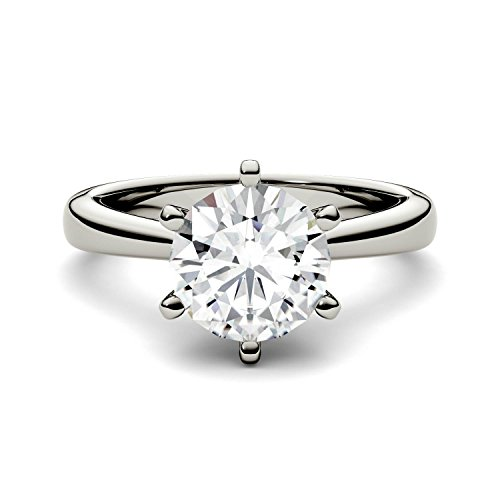 White Gold 8mm Moissanite by Charles & Colvard 6-Prong Solitaire Engagement Ring-size 5, 1.9cttw DEW