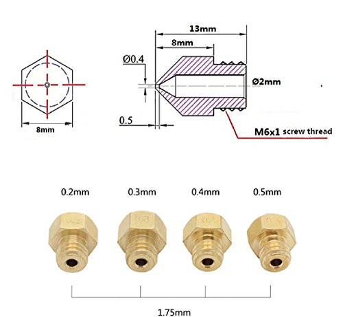 Hictop 3d Printer 0 4mm Extruder Nozzle Print Head For