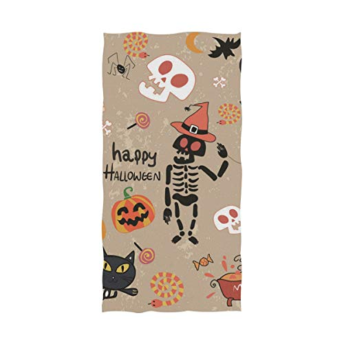 Fuiyi Miyi Bath Towel Happy Halloween Clip Art Cartoon Set Vector Image Lightweight High Absorbency, Soft and Breathable Multipurpose, Quick Drying, Pool Gym Bath Towels ()
