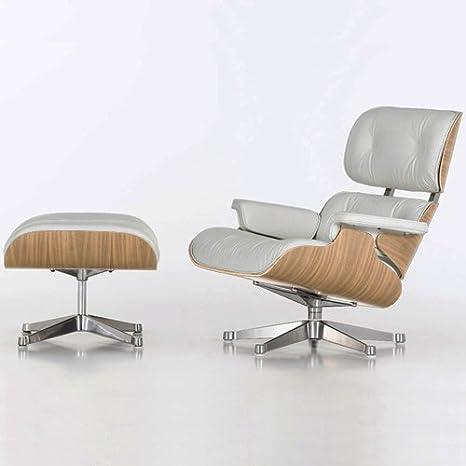 Poltrona Charles Eames con Poggiapiedi Vera Pelle Bianca: Amazon.it ...