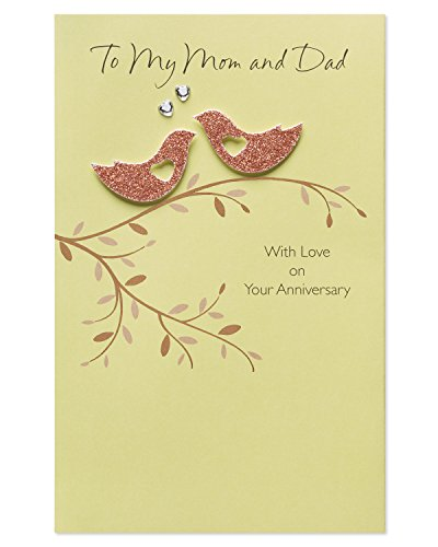 American Greetings Birds Anniversary Card for Parents with Rhinestone, Glitter, and Foil (Best Anniversary Message For Parents)
