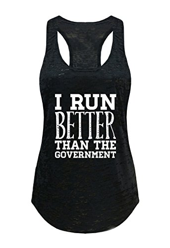 Tough Cookie's Women's I Run Better Than The Government Burnout Tank Top (Small - LF, Black)