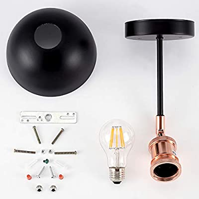 Industrial Wall Sconce?Adjustable Vintage Edison Wall Lamp, One-Light Indoor Wall Fixture, Matte Black Finish with Metal Shade for Bathroom, Cafe and Club (Bulb Included)