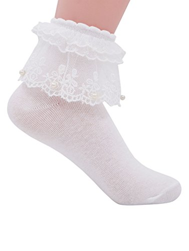designer fashion low cost shoes for cheap YASIDI Women Ankle Socks,Pearl Lace Ruffle Frilly Cotton Socks Princess  Socks Lace Socks Cute Socks (1 Pairs, White)
