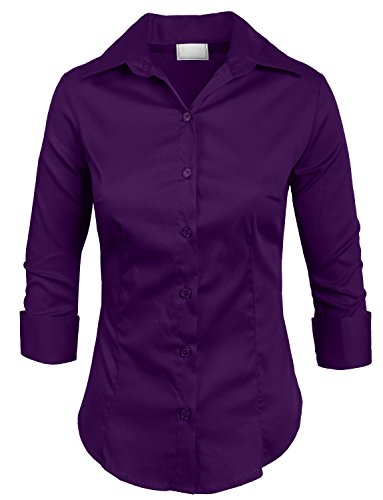 (Ne People Roll Up 3 / 4 Sleeve Button Down Shirt with Stretch, PURPLE, Medium)