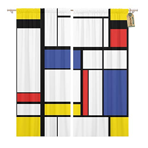 Golee Window Curtain Blue Pattern Abstract Modern Painting in Mondrian Colorful Bauhaus Home Decor Rod Pocket Drapes 2 Panels Curtain 104 x 96 inches