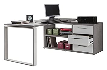Scrivania Angolo Computer : Composad scrivania angolare con sopralzo a cassetti