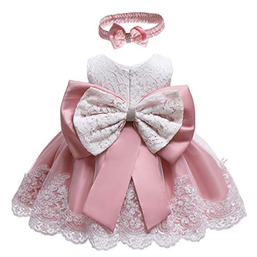 Infant Dusty Rose Apparel - MYRISAM Baby Girls 1st/2nd Birthday Dress Bowknot Flower Lace Dresses Wedding Pageant Christening Baptism Tutu Gown Dusty Rose 12-18M