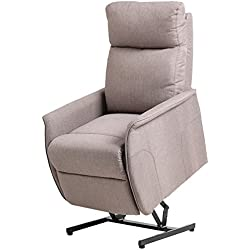 Giantex Electric Power Lift Chair Recliner Sofa Chair, With Fabric Padded Seat ,W/Remote (Light gray)