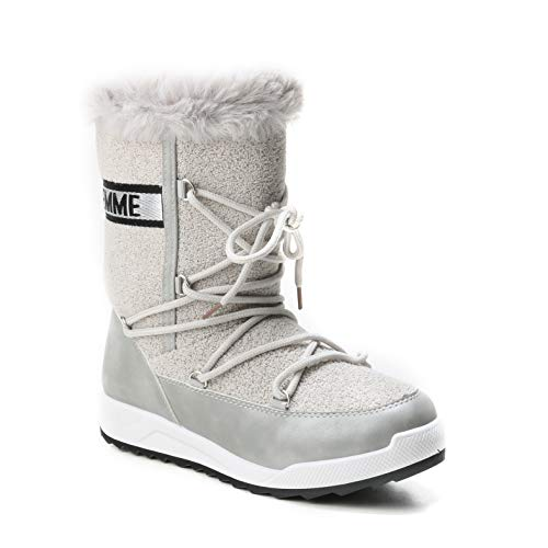 Lammfellimitat HERIXO Schrift geschnürt Silver Damen Logo dick Schuhe gefüttert Snowboots Winter Stiefel Kunstfell warm rq8rwgS