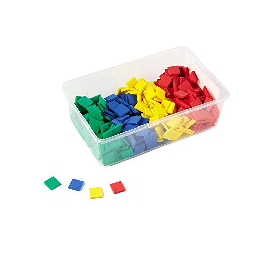 (hand2mind Foam, Assorted Colors, Square Tile Counters for Math Patterns, Counting with Storage Tub (Pack of 400))