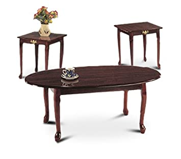 Amazoncom 3 Piece Cherry Finish Coffee Table Set With Two End