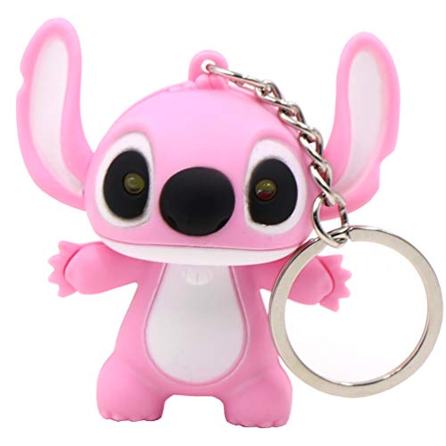 (Ireav Stitch Cartoon Modeling Keychain,LED Flashlight Key Chain Glowing Key Ring Bag Decor Hanging Buckle (Pink))