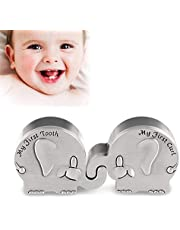 First Curl and First Tooth Keepsake Box for Kids Metallic Engraved Cute Shape, Silver Tooth Holder, Great Gift Idea Gift for Babies to Keep The Childhood Memory (Elephant)
