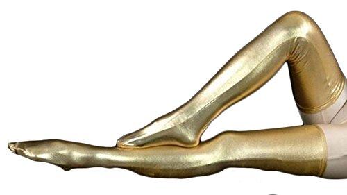 Ensnovo Shiny Metallic Spandex Thigh High Skintight Zentai Stockings Gold, (Metallic Stockings)