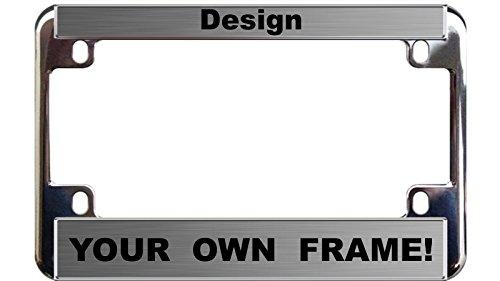 (MOTORCYCLE Custom Personalized Chrome Metal License Plate Frame - Steel / Black )