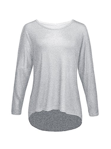 Century Star Womens Girls Plus Size Top Batwing Sleeve Blouse T-shirt for Casual Comfort Wear Light Grey 4XL / US 14-16W