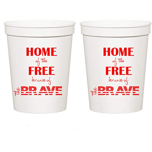 Memorial Day, Patriotic, Home of the Free Because of the Brave, 4th of July White Plastic Stadium Cups (10 cups)
