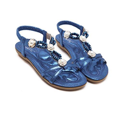 Sandales Bleu Bohème Talon Plats en Plage Romaine d'été Plates Mode Casuel Tong pour de Toe Perlés Style Peep Fanessy Femme Décontractés AHqRwPcE
