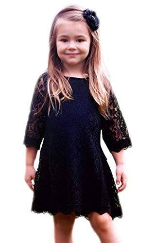 APRIL GIRL Flower Girl Dress, Lace Dress 3/4 Sleeve Dress (Black, 6-12 Months)