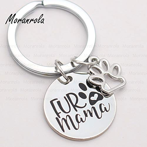 Unlimit-X Dog Necklace Fur Mama Copper Necklace Keychain Charm Pet Jewelry Dog Cat Mom Cat Necklace Mom Necklack