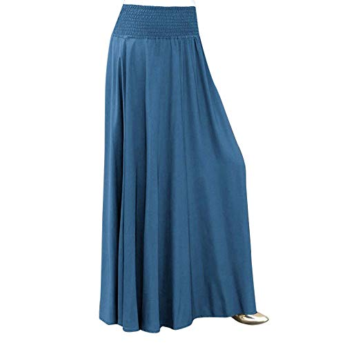 (Women Fashion Elastic Waist Solid Pleated Skirt Vintage A-line Loose Long Skirts)
