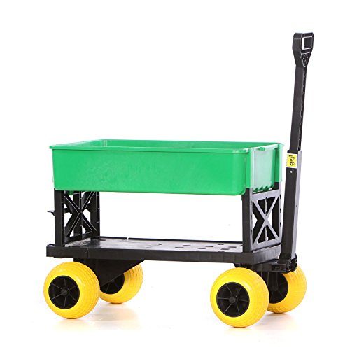 Gardening Cart Rolling Garden Seat Utility Flatbed Yard Lawn Carts and Wagons Can Dump Soil Haul Potted Plants From a Nursery or your Groceries from your car Gardening Gardener Gifts for Women. Review