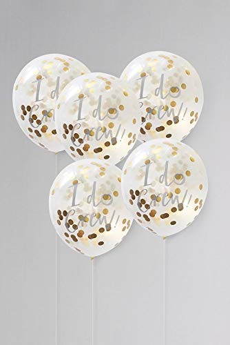Ginger Ray 12 Inch I Do Crew Confetti Balloons Pack of 5 Style ID-403, Gold