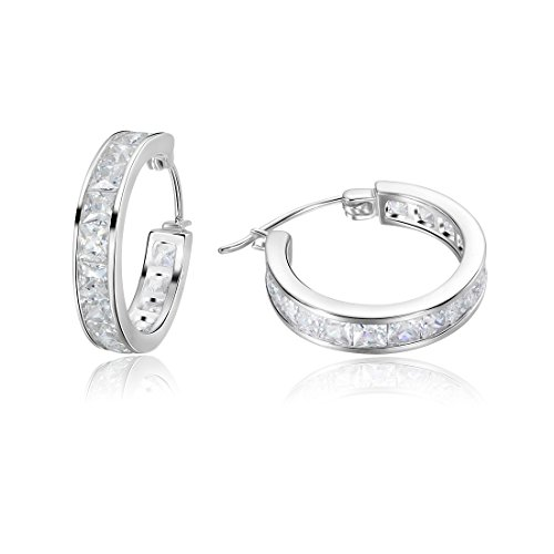 Carleen 925 Sterling Silver Channel Setting Princess Cut CZ Cubic Zirconia Hinged Huggie Hoop Earrings Dainty Delicate Fine Jewelry For Women Girls Diameter (Delicate Hoop)