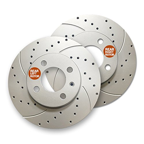 Rear Premium Geomet rust protected Drilled and Slotted Brake Rotors 31111DS | Fits: LS400 SC300 SC400 Supra GS300 ()