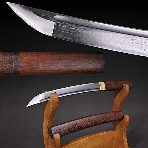 - Yongli Sword Handmade Short Katana Japanese wakizashi Tanto Samurai Sword Sharp Blade Folded Steel Hard Wooden Scabbard