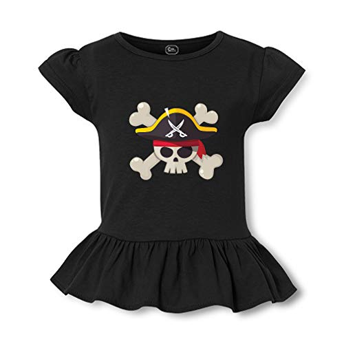 Pirate Short Sleeve Toddler Cotton Girly T-Shirt Tee - Black, 2T