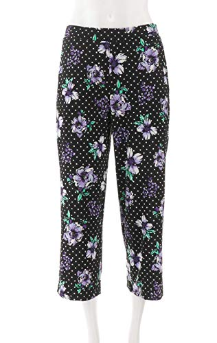Susan Graver Printed Liquid Knit Pull-On Crop Pants Black Lilac S New A302647