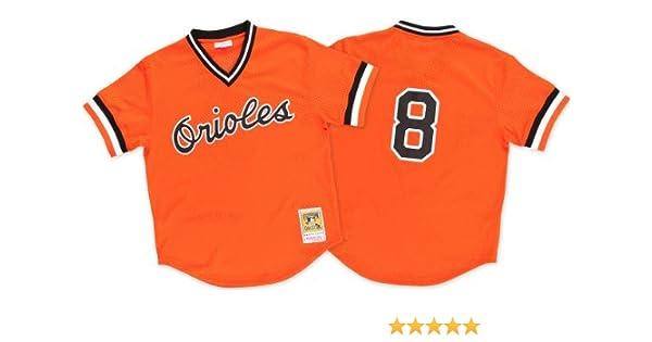 0c37cc369a7 Amazon.com   Mitchell   Ness Cal Ripken Orange Baltimore Orioles Authentic  Mesh Batting Practice Jersey   Sports   Outdoors