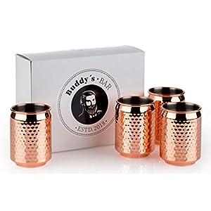 Buddy - Set di 4 bicchieri da cocktail, diametro: 7,5 cm, altezza: 10,5 cm, 350 ml, in acciaio inox di alta qualità, per bevande, per uso alimentare, per cocktail, con confezione regalo rame 10 spesavip