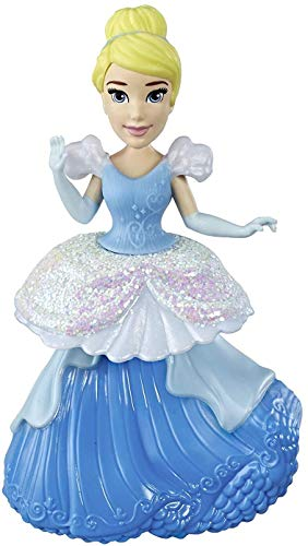 Disney Princess Cinderella Collectible Doll with Glittery Blue & White One-Clip Dress, Royal Clips Fashion Toy