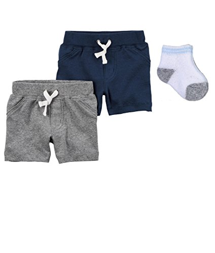 Carter's Baby Boys 2 Pack Soft Cotton Shorts (12 months) Navy/Gray
