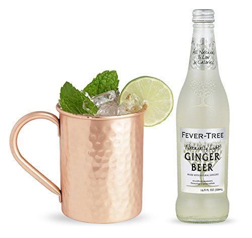 Fever-Tree Naturally Light Ginger Beer, 16.9-Ounce (24 bottles) with Advanced Mixology Set of 4 Moscow Mule Copper Mugs