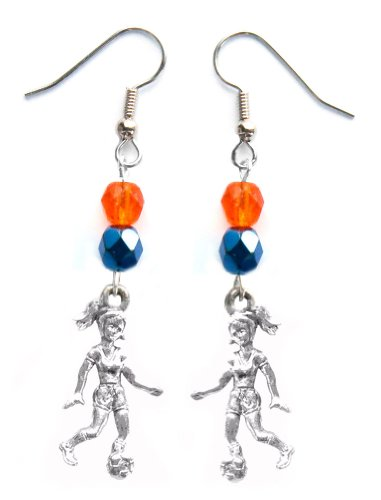 ''Soccer Girl'' Soccer Earrings (Team Colors Orange & Navy Blue) by Edge Sports
