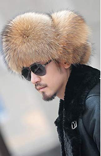 MH Bailment Mens Real Fox hat Thick Warm Fur Hat for Winter Benedict