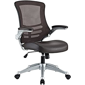 Modway Attainment Mesh Back And Brown Vinyl Modern Office Chair With Flip-Up Arms - Ergonomic Desk And Computer Chair
