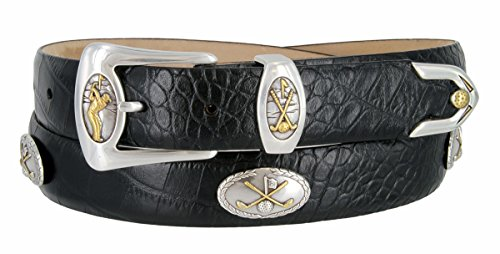 Bayside- Italian Calfskin Leather Designer Dress and Golf Belt For Men (ABLK,40) (Golf Concho Belts)