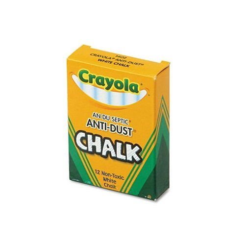 Crayola Nontoxic Anti-Dust Chalk, White, 12 Sticks/Box, 12 Dozen Anti Dust White Chalk