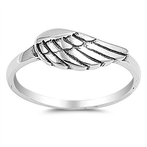 Angel Wing Polished Ring New .925 Sterling Silver Biker Band Size 8